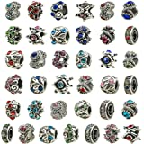 TOAOB 30pcs Assorted Antique Silver Rhinestone European Lampwork Beads Large Hole Spacer Beads Charms Supplies for…
