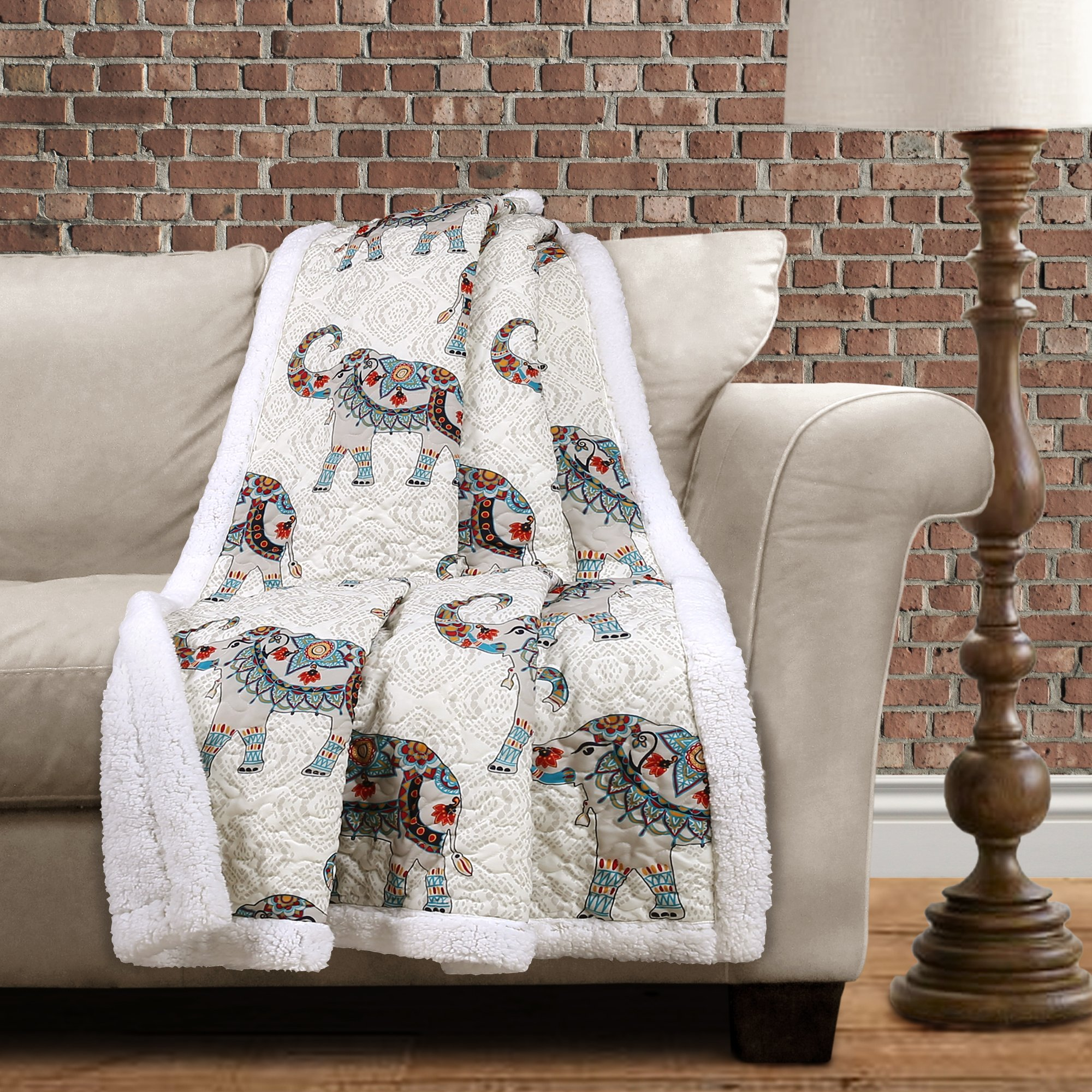Lush Decor Hati Elephants Sherpa Throw, 60'' x 50'', Navy/Turquoise