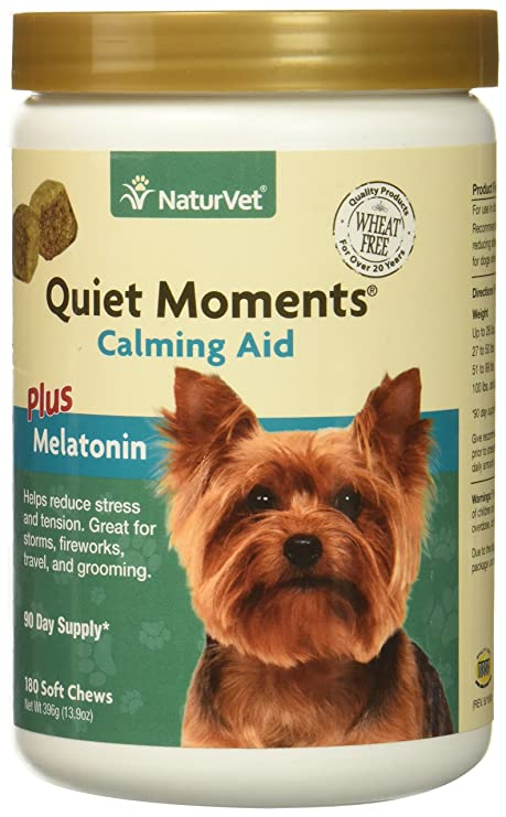 NaturVet Quiet Moments Soft Chews Safe Use Reduce Stress Travel Motion Sickness 180 Count