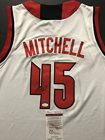 1dc50e29d ... discount code for autographed signed donovan mitchell louisville  cardinals white college basketball jersey jsa coa df623
