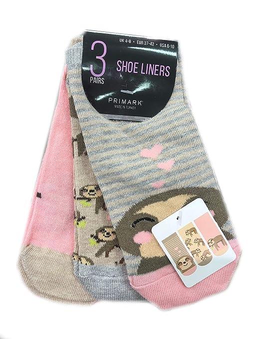Primark Sloth Ladies Mujeres Niñas Calzado de Zapato Trainer Calcetines tamaño UK 4-8,