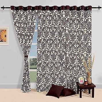 Fesselnd Baumwolle Damast Muster Fenster Gardinen Vorhang 150x137 Cm Für Wohnzimmer  Set 2 Panels
