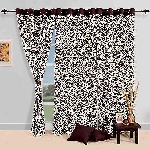 Baumwolle Damast Muster Fenster Gardinen Vorhang 150x137 Cm Für Wohnzimmer  Set 2 Panels