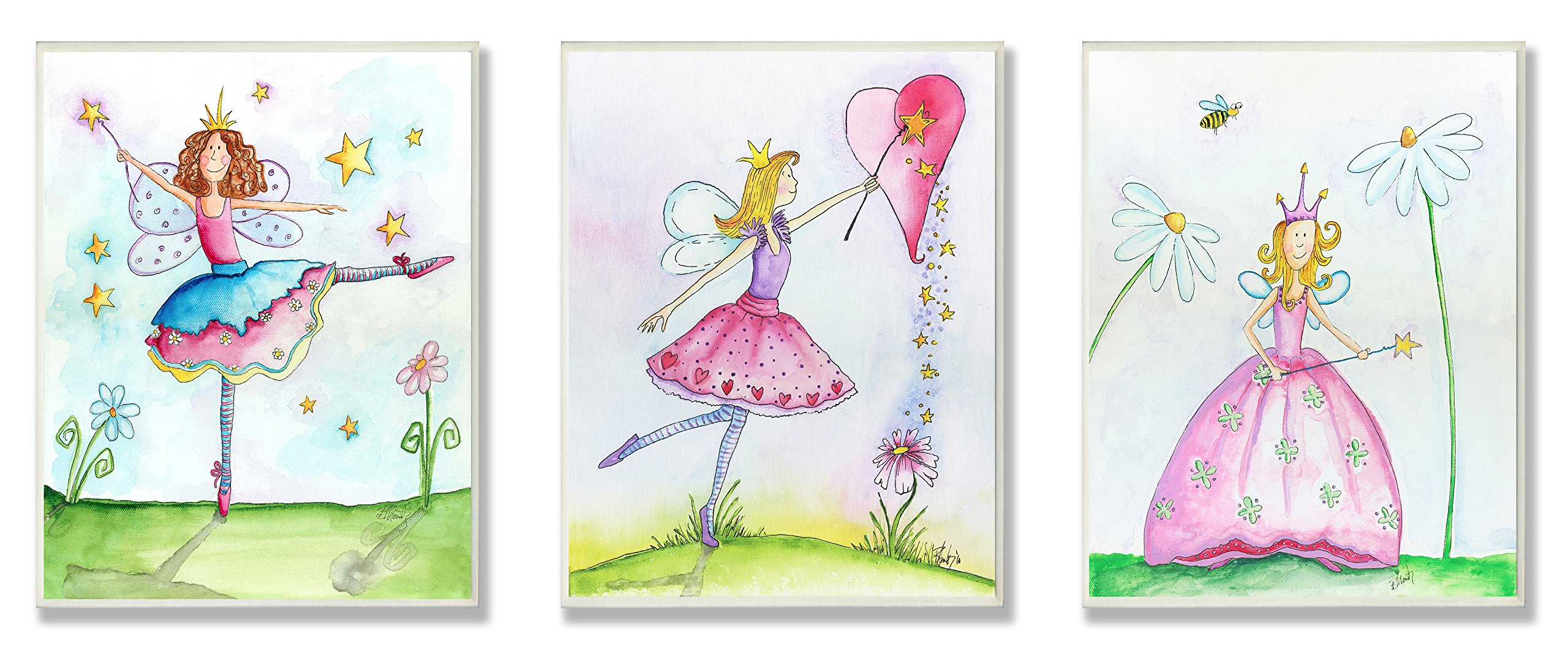 The Kids Room by Stupell Princess Fairies 3-Pc Wall Plaque Set