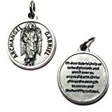 Archangel Gabriel Protect Protection Medal Pendant Charm with Prayer Made in Italy Silver Tone Catholic 3/4""