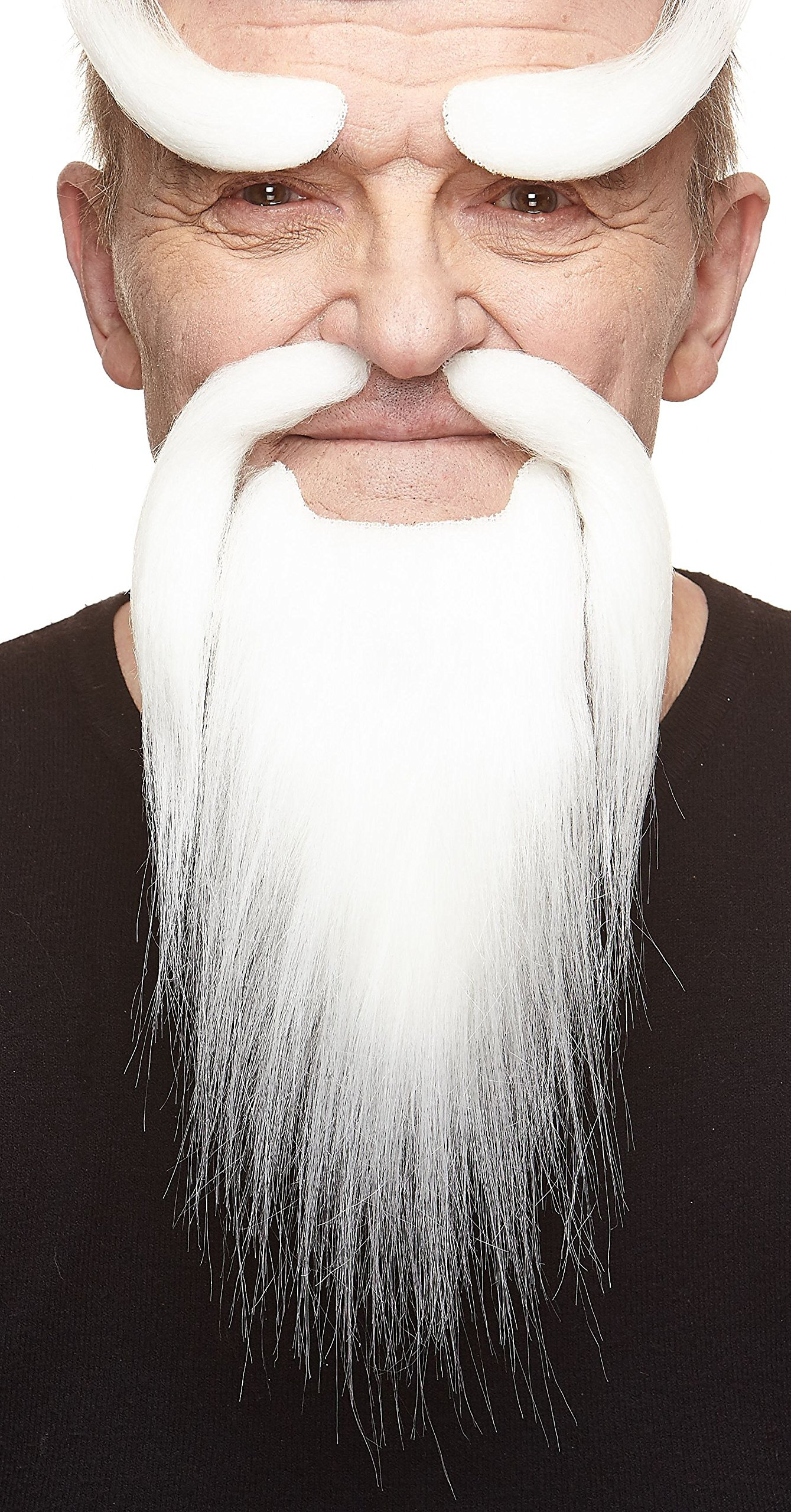 Mustaches Self Adhesive, Novelty, Fake Shaolin Monk Beard, and Eyebrows, White Color