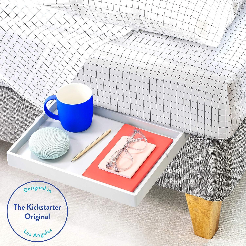 AS SEEN ON Business Insider BedShelfie The Original Bedside Shelf Slide Style, Bamboo in Light Grey 9 Colors // 4 Sizes