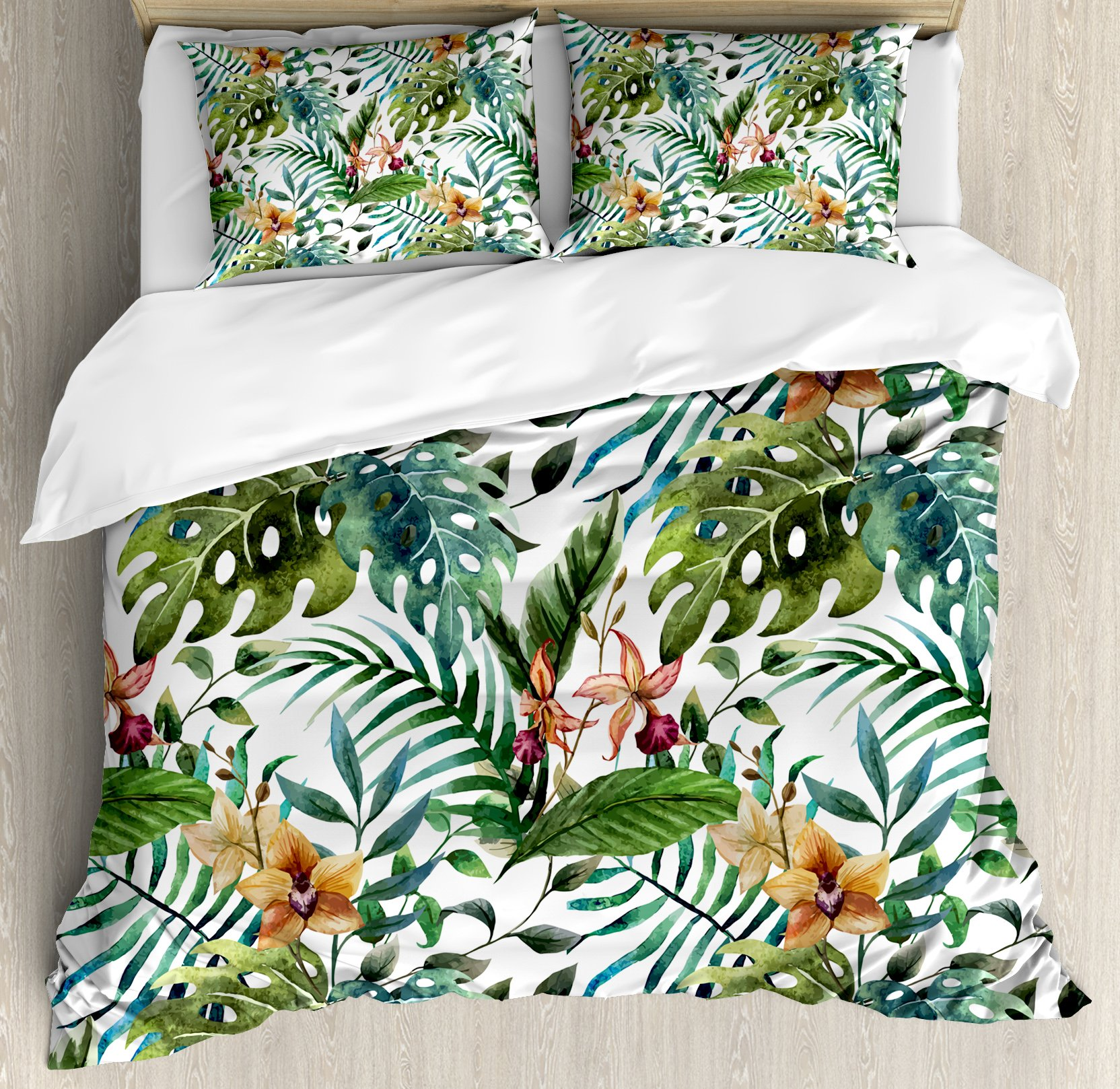 Leaf Duvet Cover Set Queen Size by Ambesonne, Vintage Retro 60s Seem Banana Palm Tree Leaves Flowers Hibiscus, Decorative 3 Piece Bedding Set with 2 Pillow Shams, Light Caramel Burgundy and Green