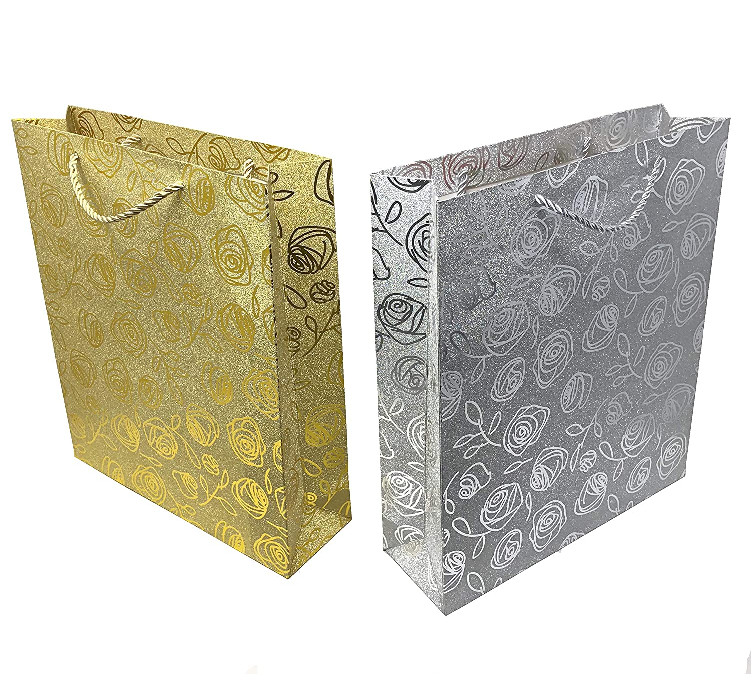 ad248a882288d Amazon.com  Haute Soiree - 4 Pack - Large Sized High Quality Luxurious Gift  Bag Set with Rope Handles - 2 Gold and 2 Silver Shimmering Floral Designs  ...