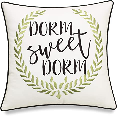 ADecor Dorm Sweet Dorm Embroidered Decorative Pillowcase