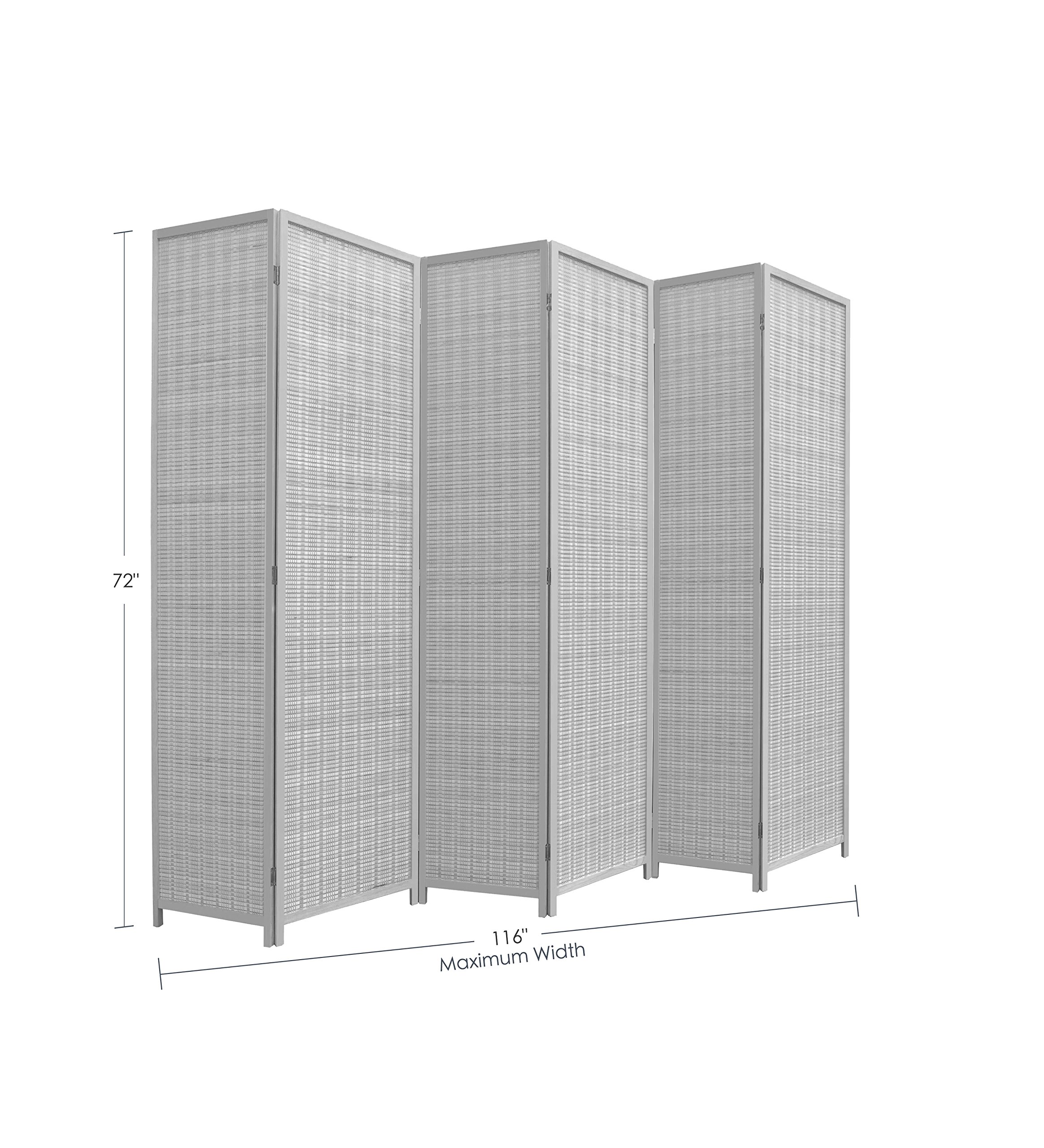 RHF 6 ft Tall Extra Wide Double Hinged bamboo room divider 6