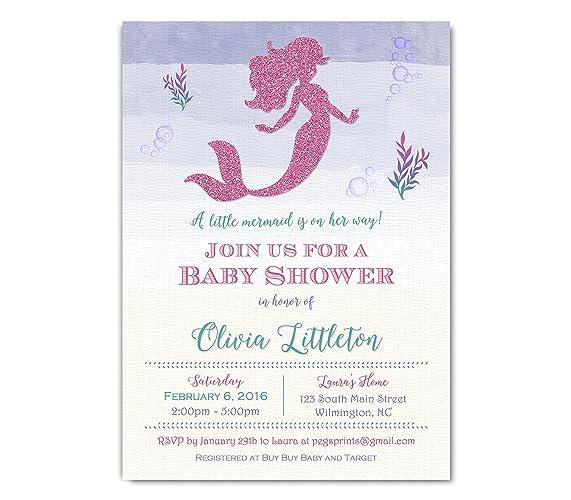 Amazon Com Mermaid Baby Shower Invitation Pink Glitter Mermaid