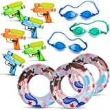 All in One Summer Party Bundle Pack for Kids - Set of 3 Swimming Goggles   3x Inflatable Pool Floats for Boys & Girls   6x Small Squirt Water Guns for Children – The Ultimate Fun in the Sun