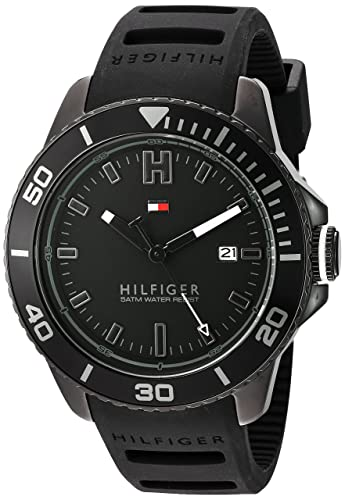 Tommy Hilfiger Men s Quartz Metal and Silicone Watch, Color Black Model 1791265