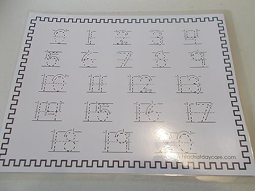 Preschool number tracing 0-20 Numbers laminated dry erase preschool worksheets