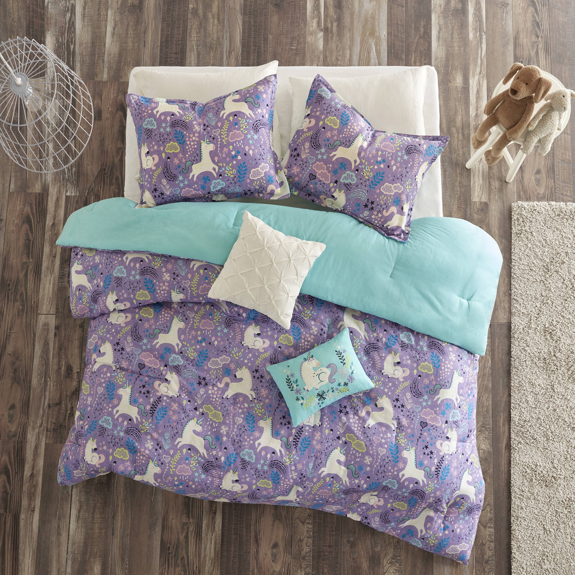 5 Piece Girls Light Purple Blue White Unicorn Dream Comforter Full Queen Set, Vibrant All Over Girly Magical Unicorns Theme Bedding, Bright Whimsical Multi Magic Creatures Themed Pattern, Cotton