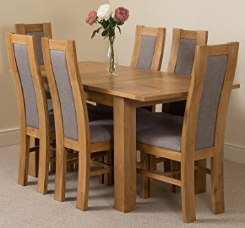 9d58284f1c6c MODERN FURNITURE DIRECT Hampton Extending Kitchen Solid Oak Dining Table &  6 Solid Oak Fabric Chairs