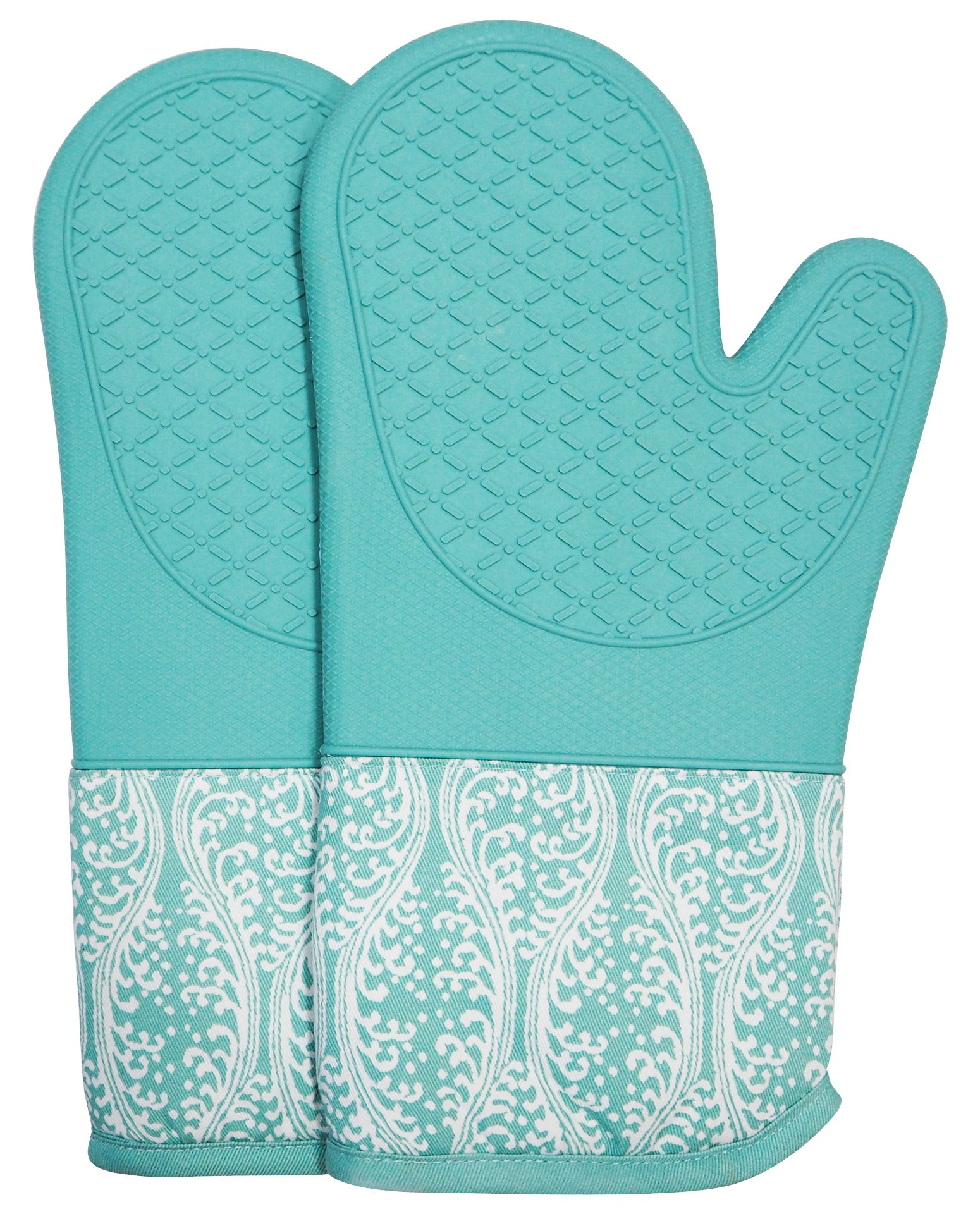 DETA HOME Silicone Oven Mitts with Quilted Cotton Lining - Professional Heat Resistant Pot Holders (Light blue)