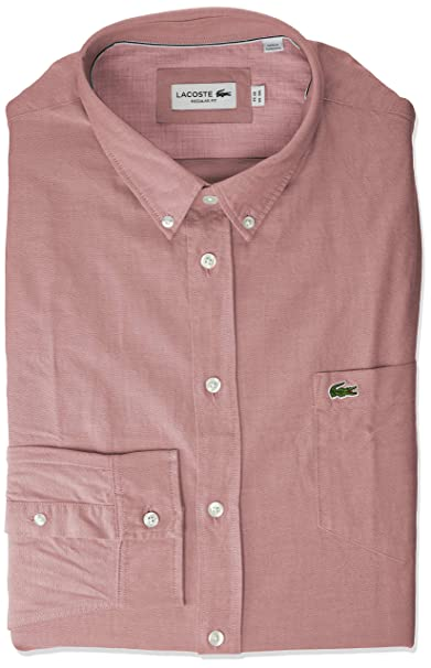 52f707f9 Lacoste Men's Long Sleeve Regular Fit Button Down Solid Oxford Shirt ...
