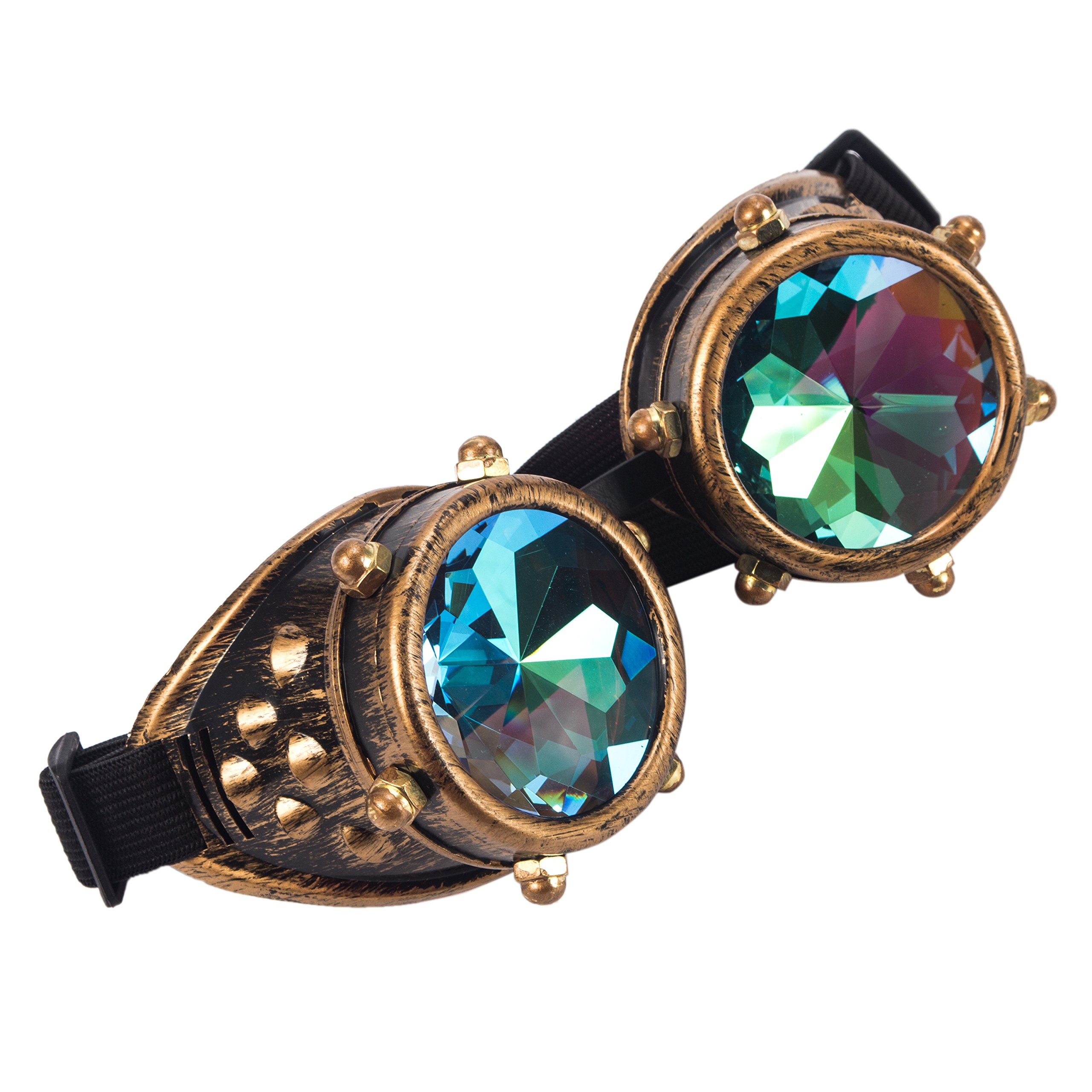 Kaleidoscope Rave Goggles Steampunk Glasses with Rainbow Crystal Glass Lens (One Size-Adjustable head band, Brass-New Style)