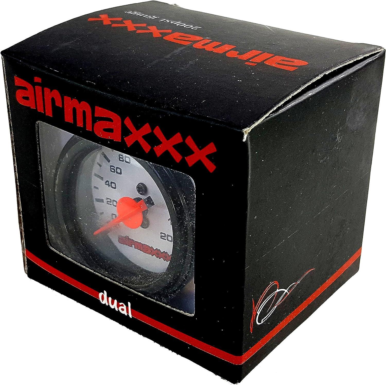 airmaxxx Dual Needle White Air Gauge /& Panel no Switch