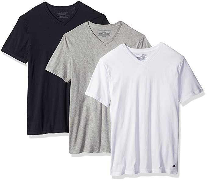 23e269ce2 Tommy Hilfiger Men's Undershirts 3 Pack Cotton Classics V-Neck T-Shirt,  White