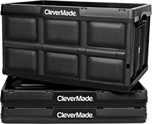 CleverMade 46L Collapsible Storage Bins - Durable Plastic Folding Utility Crates, Solid Wall Stackable Containers for Home & Garage Organization, Black, 3 Pack