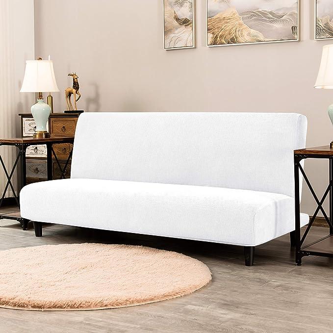 Subrtex Armless Sofa Cover Stretch Sofa Bed Slipcover Soft Spandex Strapless Couch Protector (Sofa, White)
