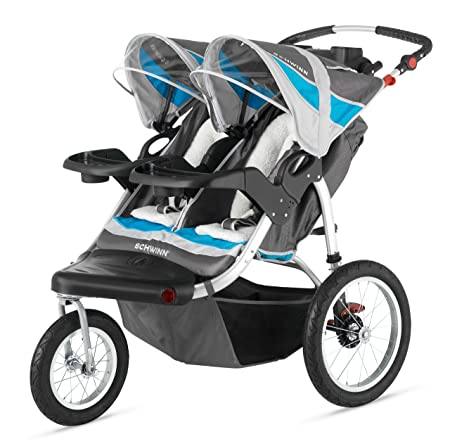 Schwinn Turismo Double Swivel Stroller, Grey/Blue