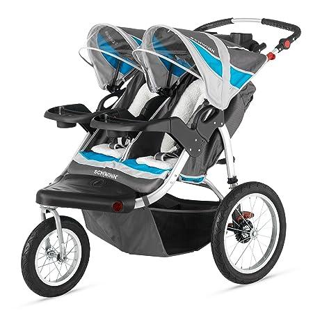 Schwinn Turismo Double Swivel Stroller, Grey/Blue