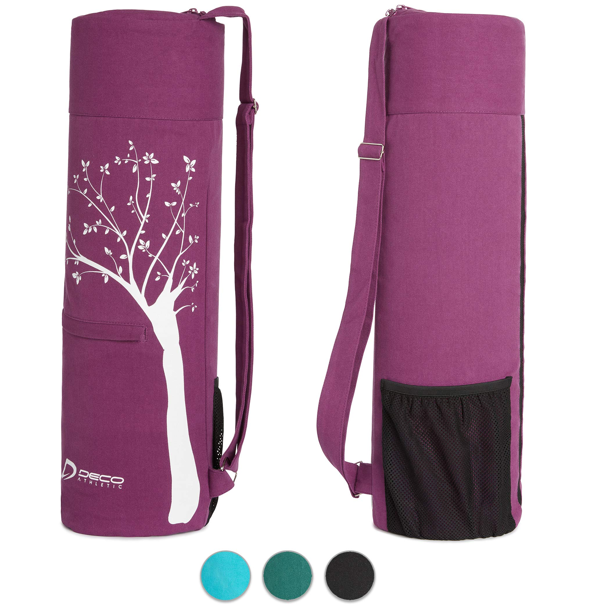 Deco Athletic Purple Yoga Mat Bag, fits up to 25 inch mat, one Large Zipped Interior Pocket, one Large mesh Exterior Pocket, Room for Yoga Blanket and Yoga Towel
