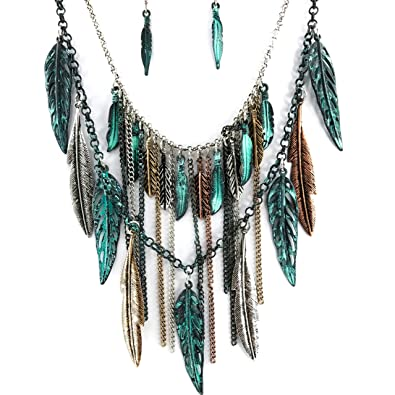 d40b90de4 Amazon.com: Western Peak Bohemian Tritone Tassels Metal Feathers Necklace  with Earrings (Patina): Jewelry