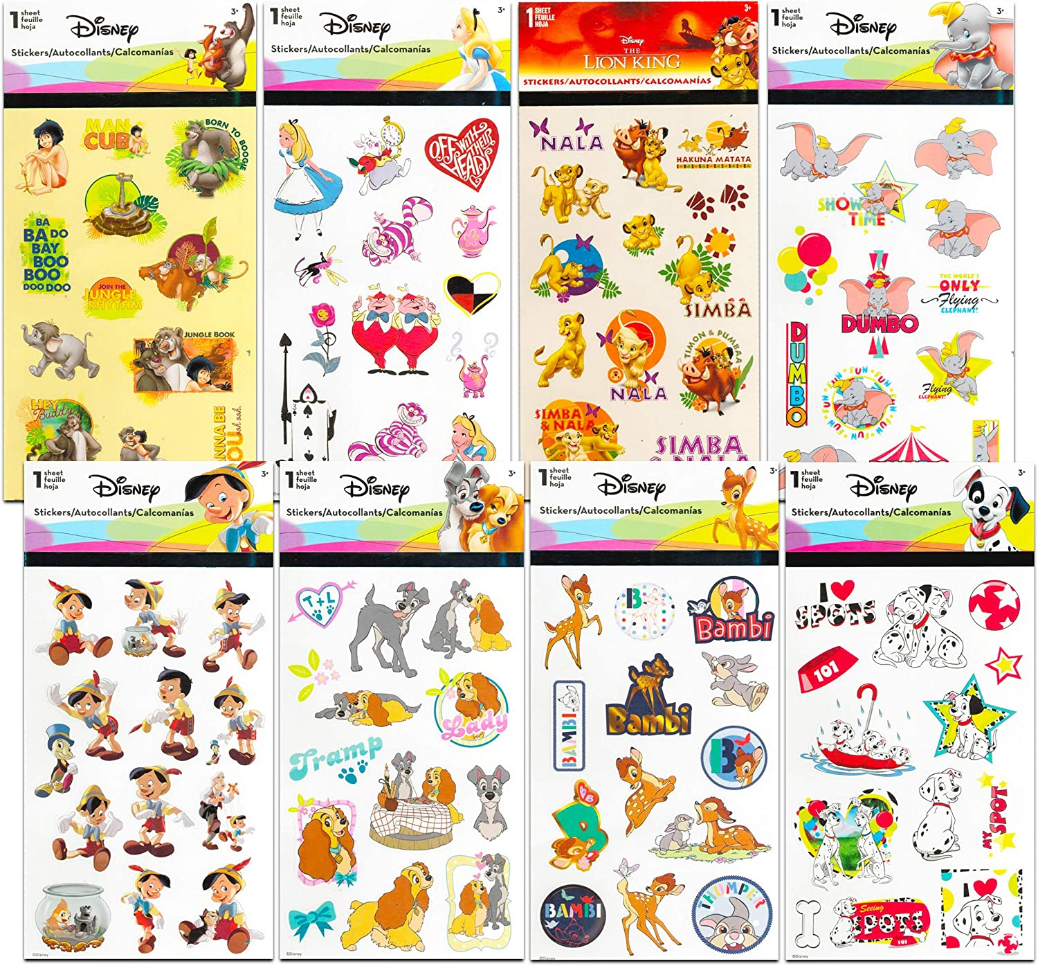 Classic Disney Stickers Party Favors Mega Assortment ~ Bundle Includes 16 Disney Sticker Sheets Featuring Bambi, 101 Dalmatians, Lion King, Jungle Book, Pinocchio, and More (Over 200 Stickers!)