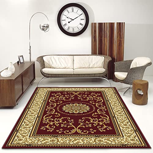 Radici 1419 Noble Rugs, 7-Feet 9 by 9-Feet 6-Feet, Burgundy