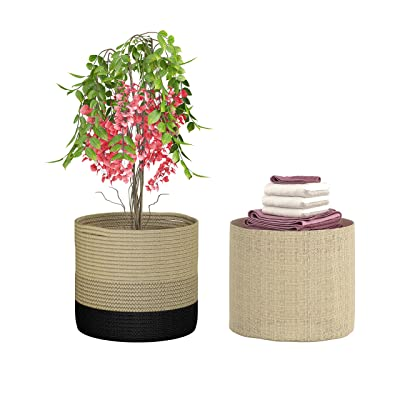"Two Plant Baskets by Paul Lenart, Two pcs Different Style Jute Baskets for 10"" Flower Pot, 11 x 11 inch Woven Rope Organizers for Floor Indoor Planters, Modern Rustic Home Decor, Black and Beige : Garden & Outdoor"