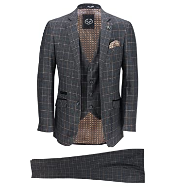 hot sale online 49269 3c4c1 Xposed Herren 3-teiliger Anzug mit blau-orangefarbenem Sichtfenster auf  Anthrazitgrau