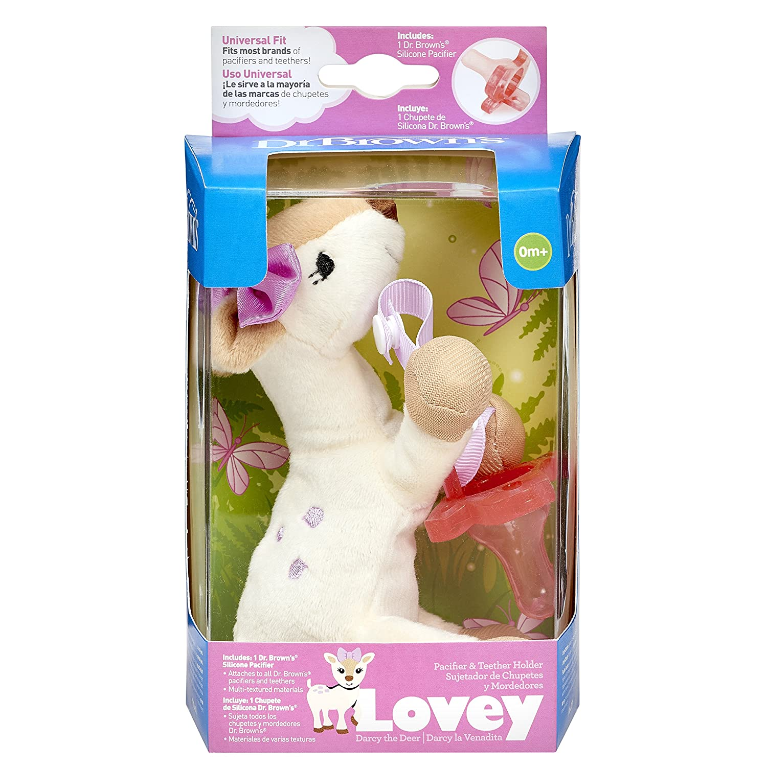 Amazon.com : Dr. Browns Lovey Pacifier and Teether Holder, 0 Months Plus, Deer with Pink Pacifier : Baby