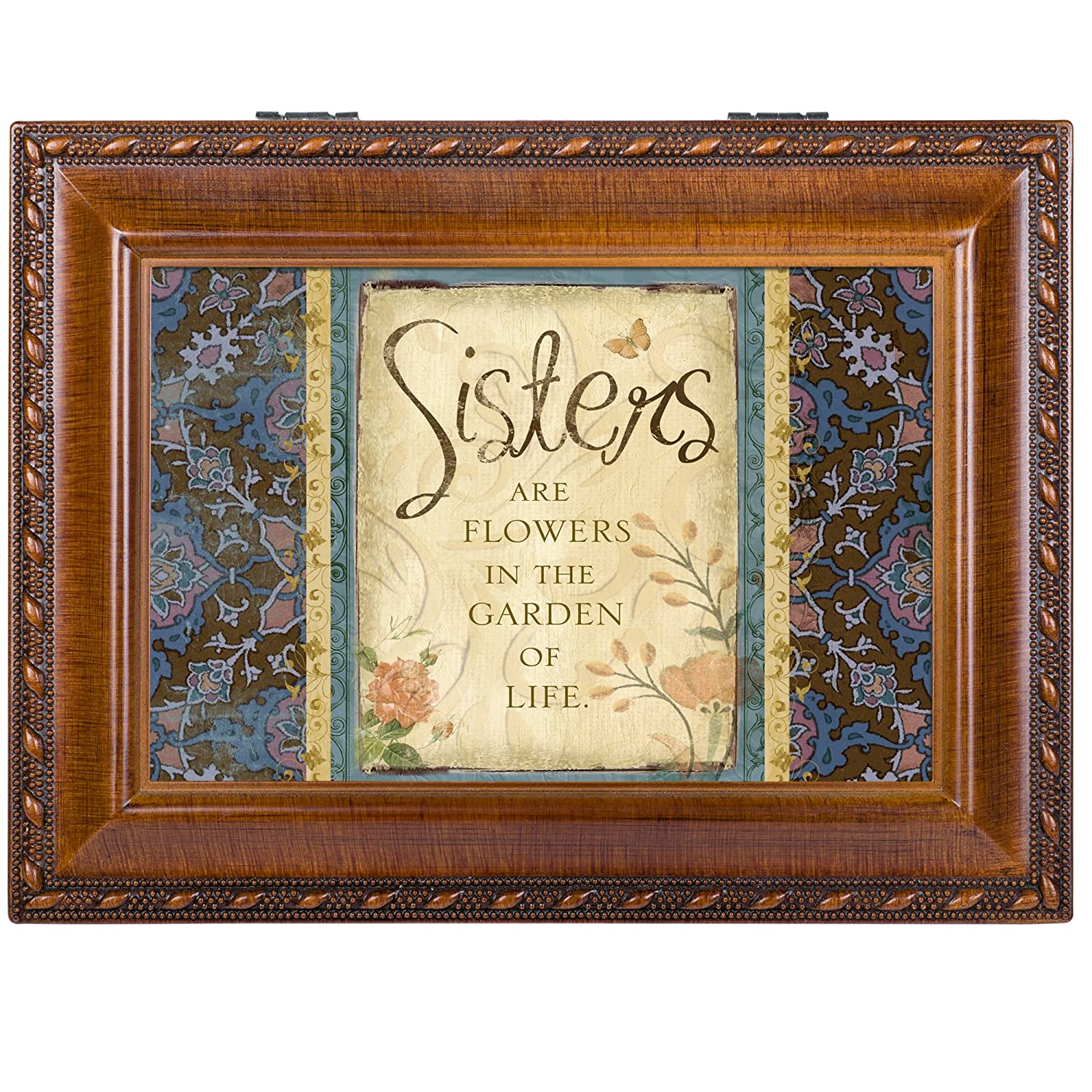 Cottage Garden Sisters Garden Woodgrain Traditional Music Box Plays Thats What Friends Are For