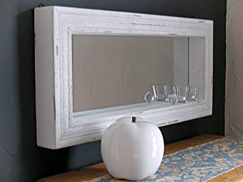 Astonishing Loft Mirror Country Cottage Style Antique White Wooden Wall Home Interior And Landscaping Ologienasavecom