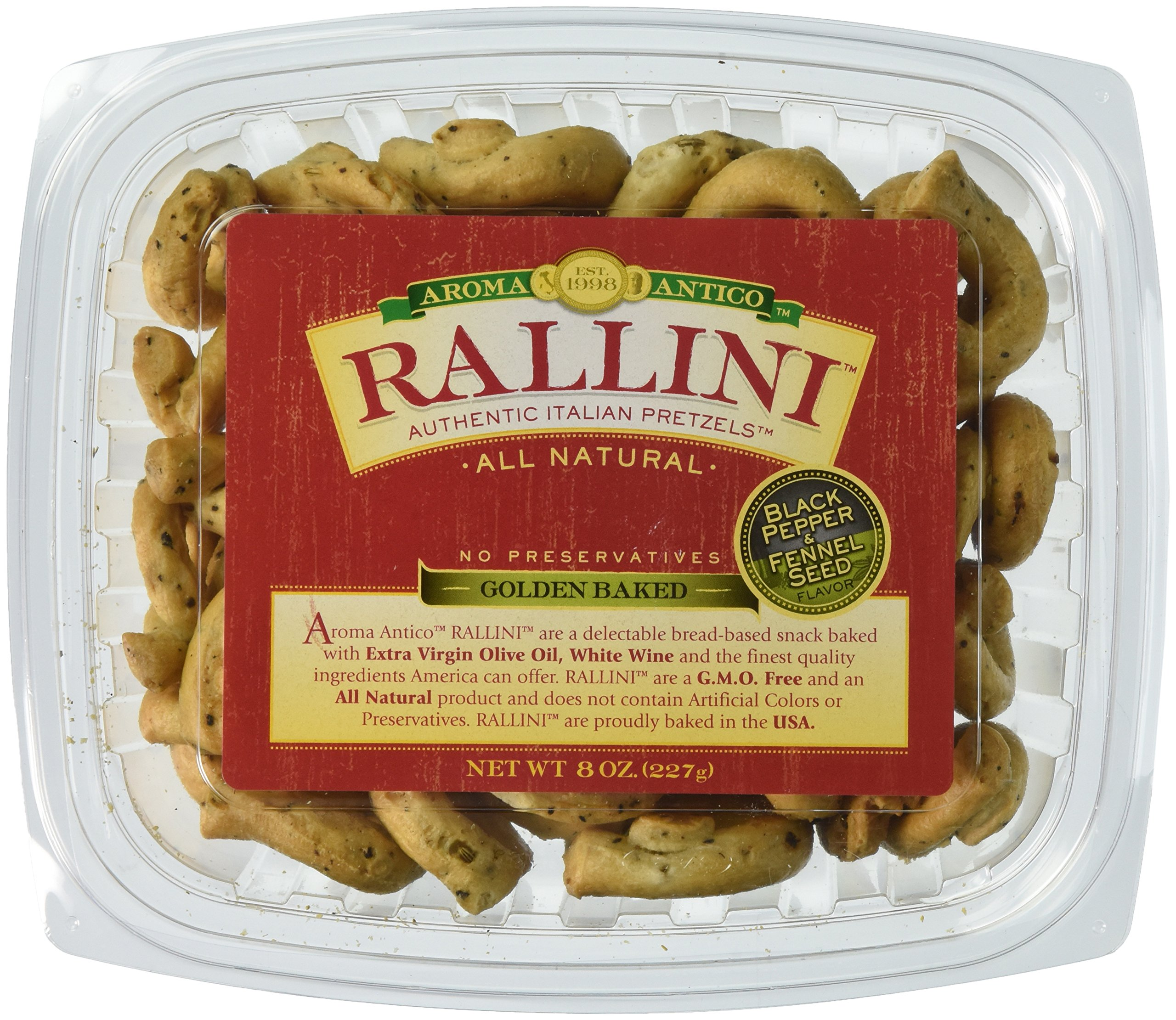 RALLINI Authentic Italian Pretzels, Black Pepper and Fennel Seed, 8 Ounce (Pack of 6)