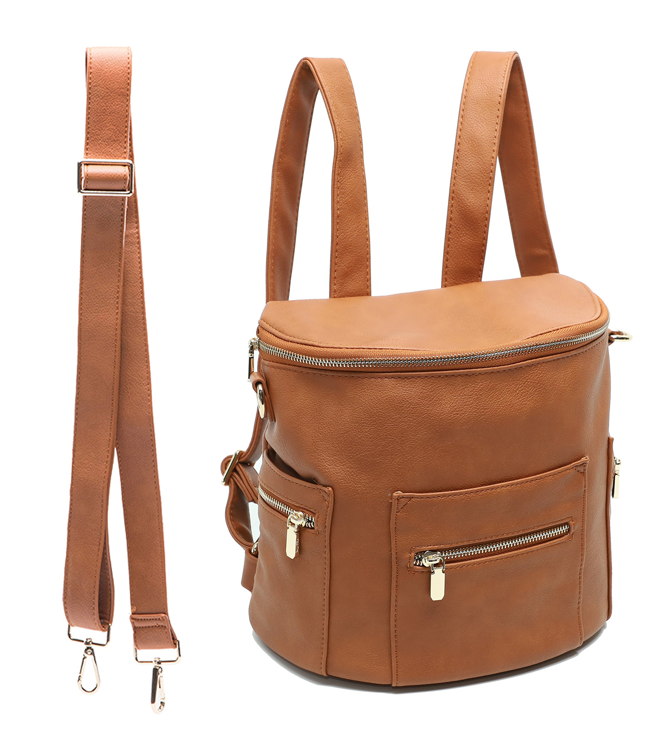 miss fong Mini Backpack by, Toddler Backpack Kids Backpack Diaper Bag for Mom with Insulated pockets, Handle and Crossbody Strap(Brown)