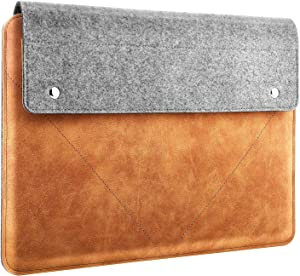 """MoKo Laptop Sleeve Fits 2019 MacBook Pro 16 Inch, MacBook Pro 15.4"""", Surface Book 2 15"""", Surface Laptop 3 15"""" 2019, HP Chromebook 14, Felt and PU Leather Case Bag with Pocket - Gray & Brown"""