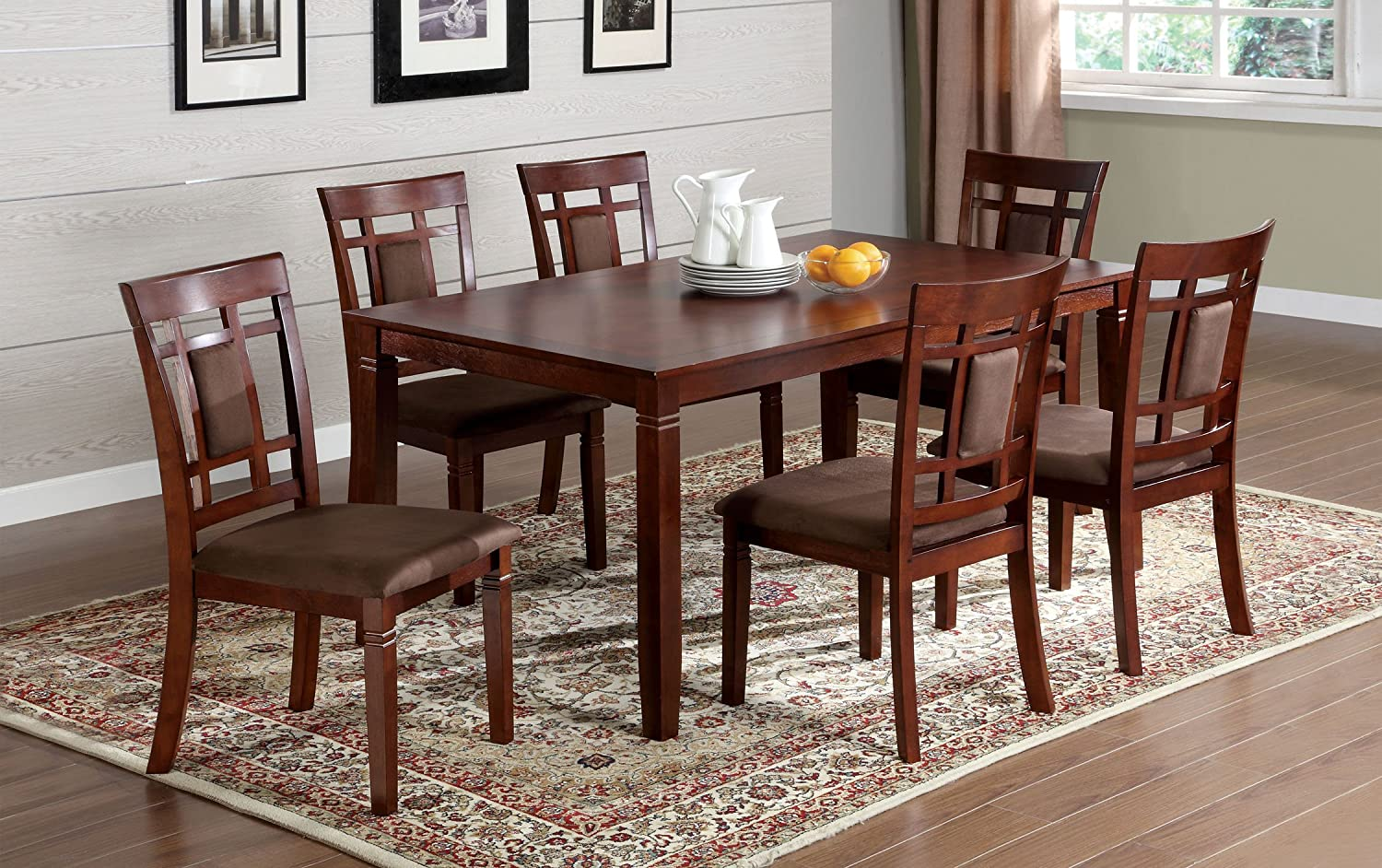 Amazon com furniture of america cartiere 7 piece dining table set dark cherry finish table chair sets