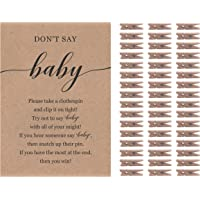 Don't Say Baby Game for Gender Neutral Baby Shower Clothespin Game Includes One 5x7 Kraft Sign and 48 Mini Natural Clothespins