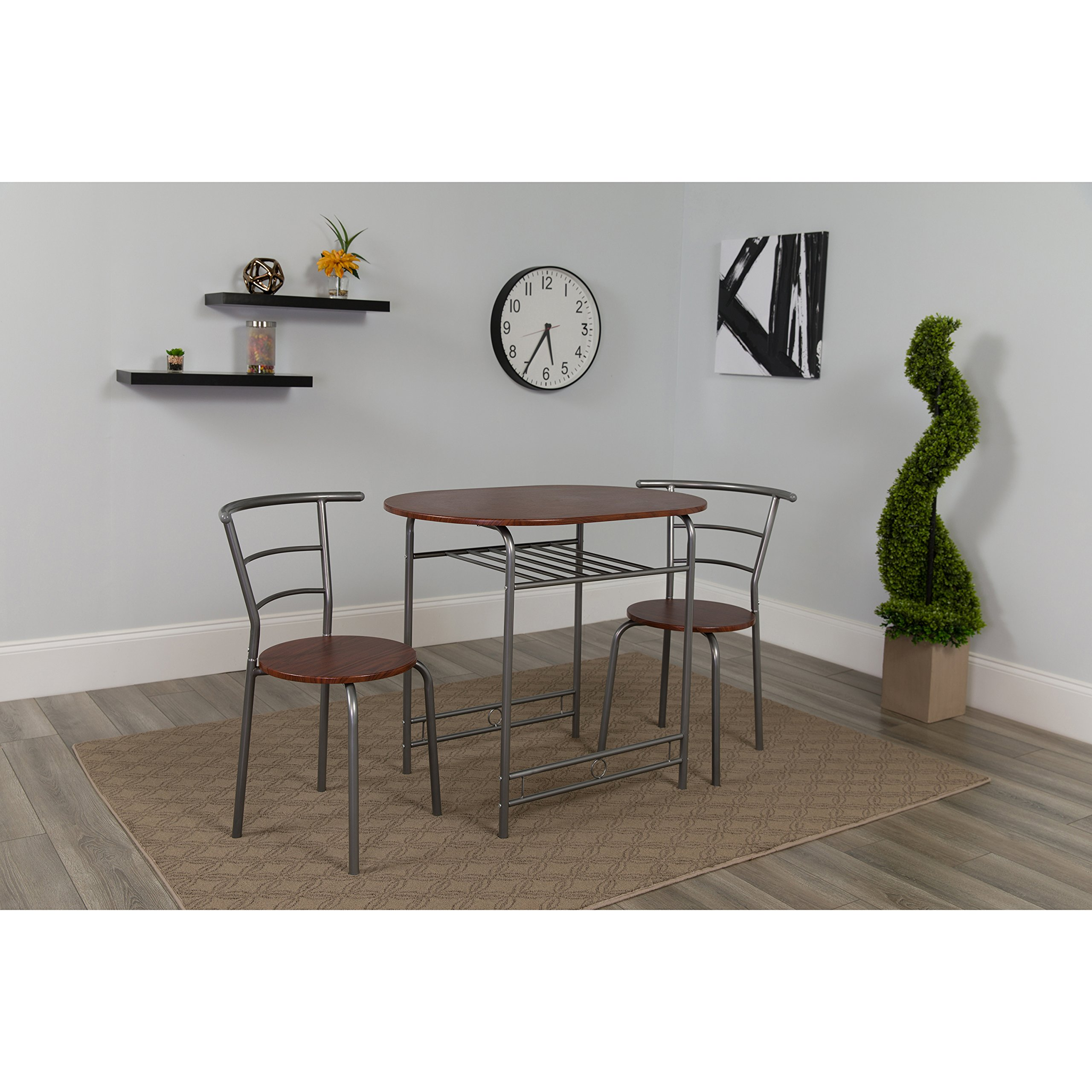 Flash Furniture Soho 3 Piece Space-Saver Mahogany Finish Bistro Table with Shelf and Chairs