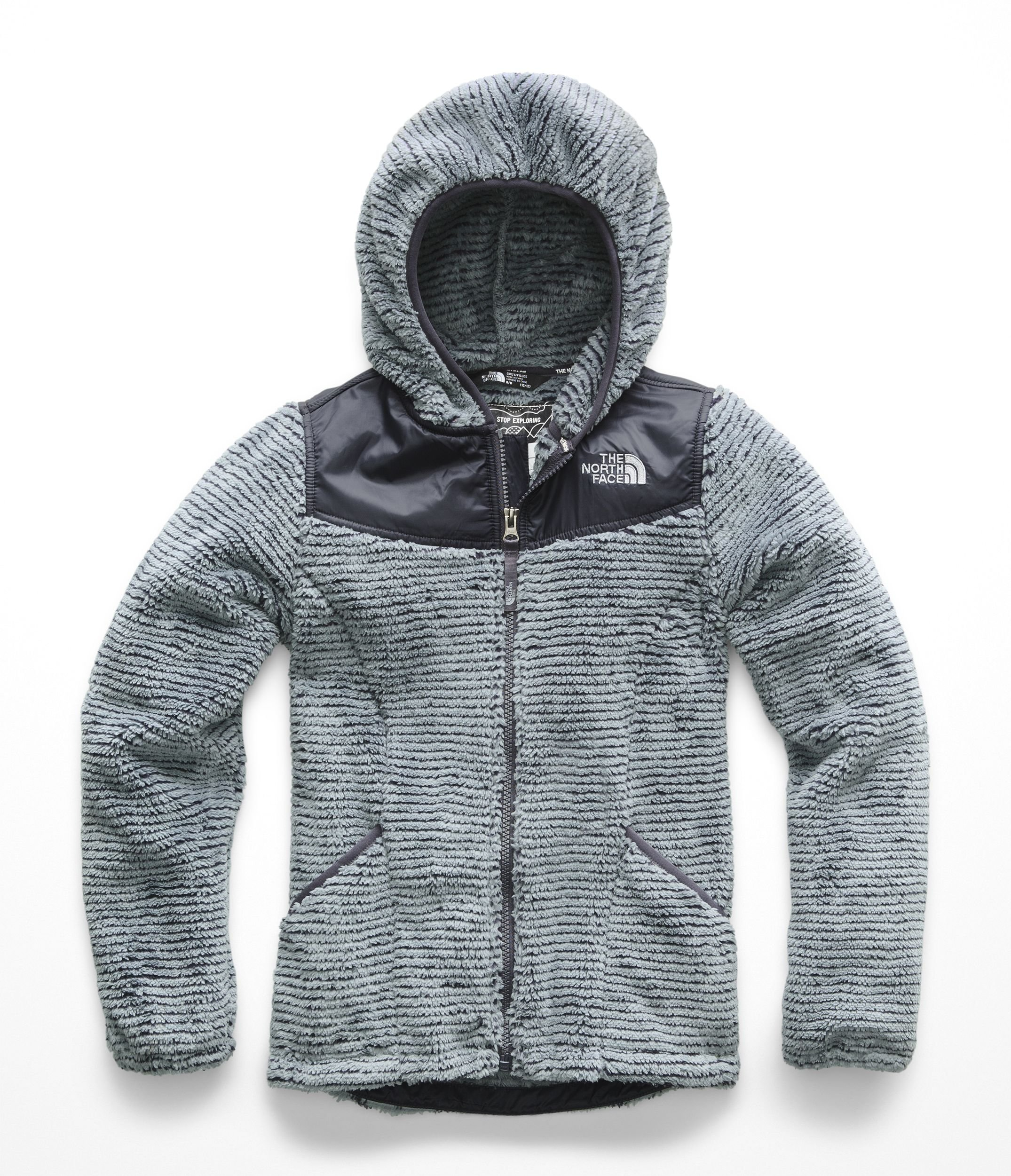 The North Face Girl's OSO Hoodie - Mid Grey & Periscope Grey Stripe - XXS