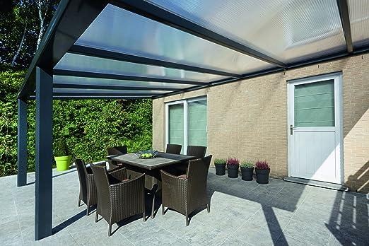 Techo para terrazas y verandas Climalux, de aluminio, 500 x 300 cm con certificado CE según