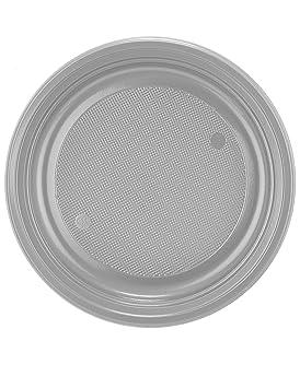 COOLMP - Juego de 12 Platos de plástico Gris Plata, 22 cm ...
