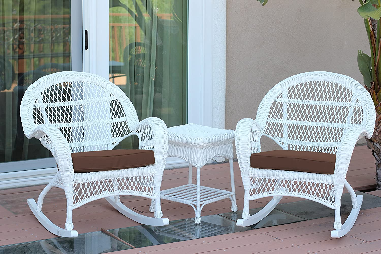 Jeco 3 Piece Santa Maria Rocker Wicker Chair Set with Brown Cushions, White: Furniture & Decor