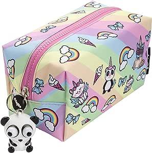 FRINGOO® - Estuche cuadrado grande con tirador de cremallera para lápices, diseño de unicornio: Amazon.es: Hogar
